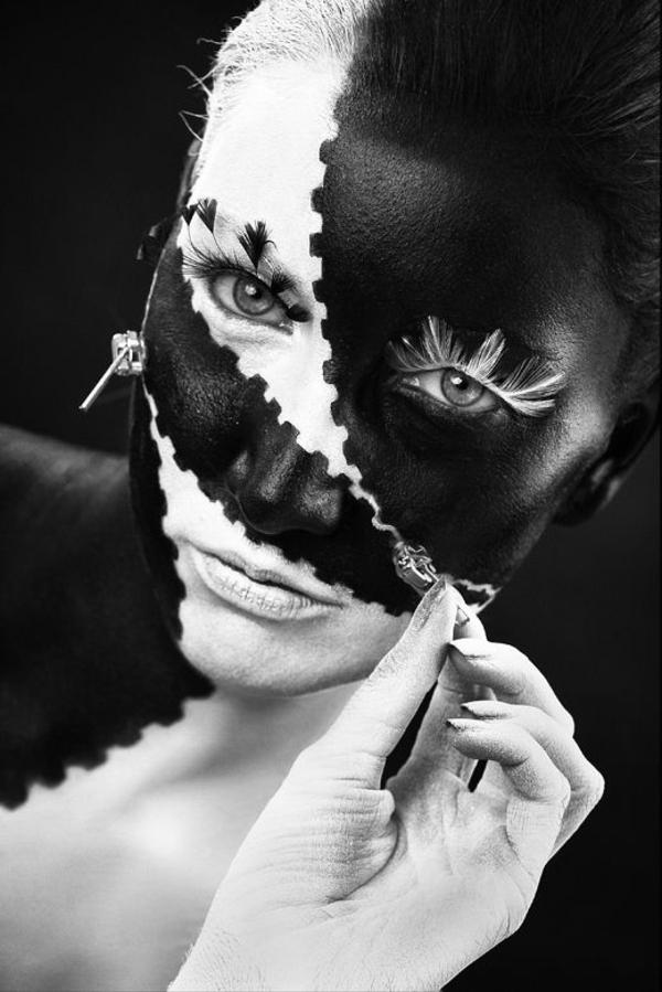 idée de maquillage pour halloween femme noir et blanc