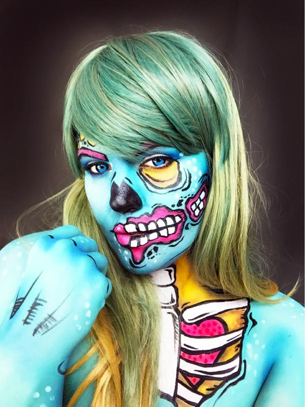 idée de maquillage pour halloween femme squelette