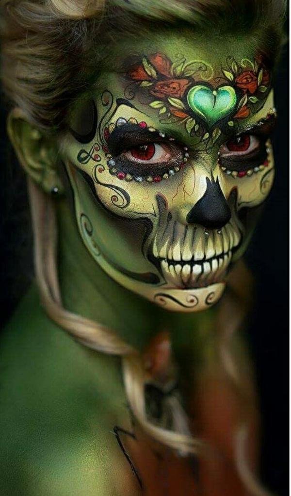 idée de maquillage pour halloween motifs floraux