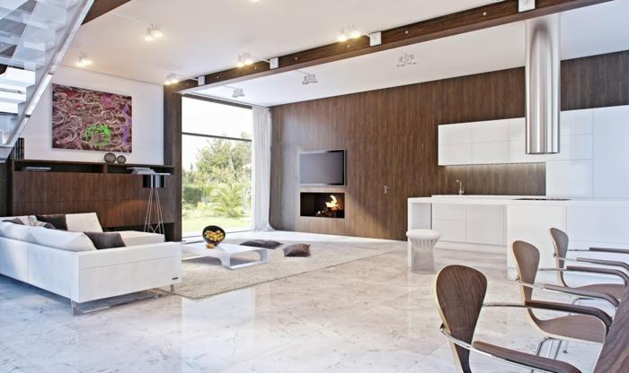 idée de salon moderne sol marbre