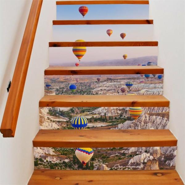 idée originale déco montée d'escalier papier peint