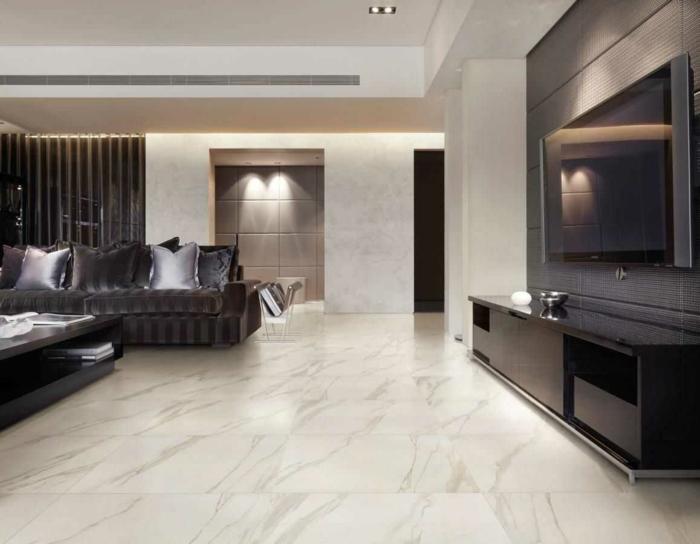 idée salon chic sol marbre