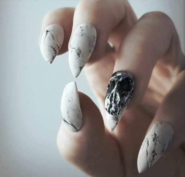 manucure halloween effet marbré crâne 3d