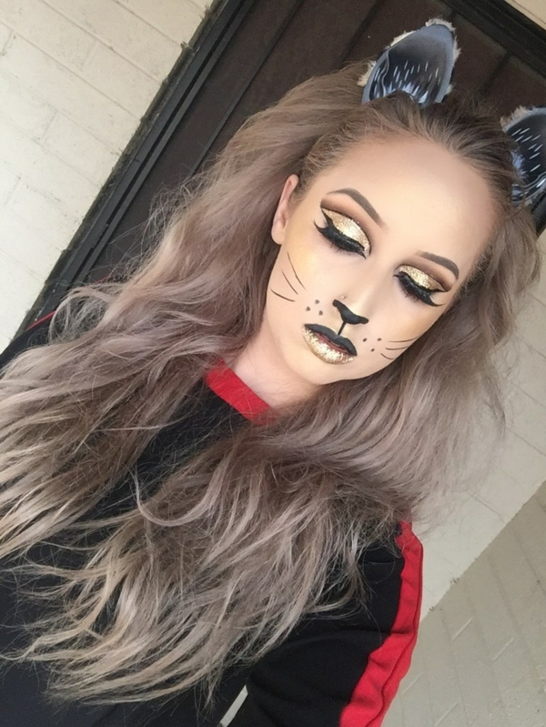 maquillage facile pour halloween femme chat