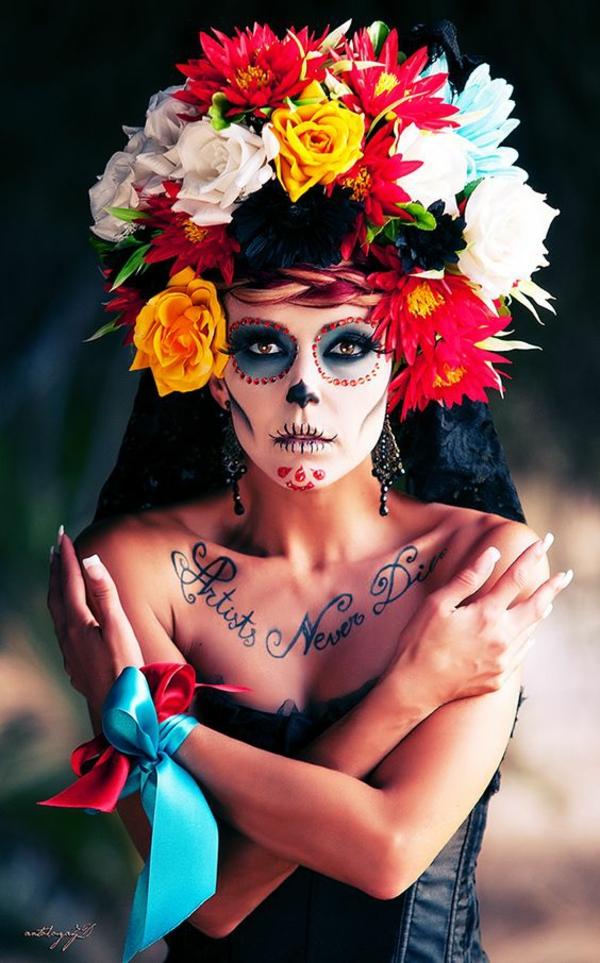 maquillage facile pour halloween femme crâne de sucre