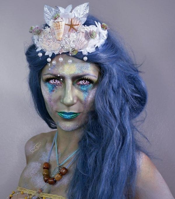 maquillage facile pour halloween femme créature maritime effrayante