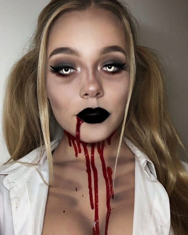 maquillage facile pour halloween femme effrayante