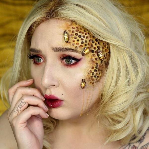 maquillage facile pour halloween femme nid d'abeilles