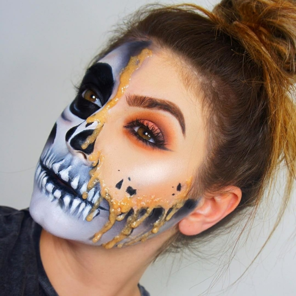 maquillage facile pour halloween femme squelette