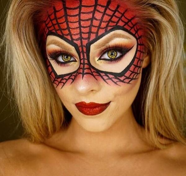 maquillage facile pour halloween femme thème spiderman