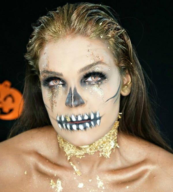 maquillage facile pour halloween squelette femme
