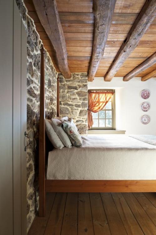 mur effet pierre chambre à coucher