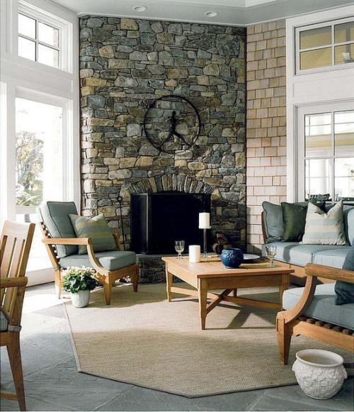 mur effet pierre meubles en bois