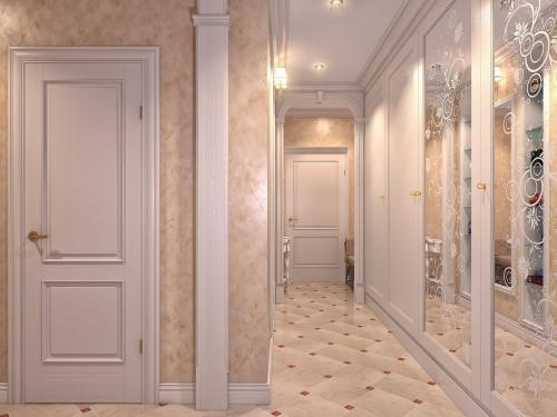 papier peint couloir miroirs à figures dessinées