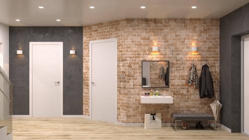 papier peint couloir parquet stratifié beige