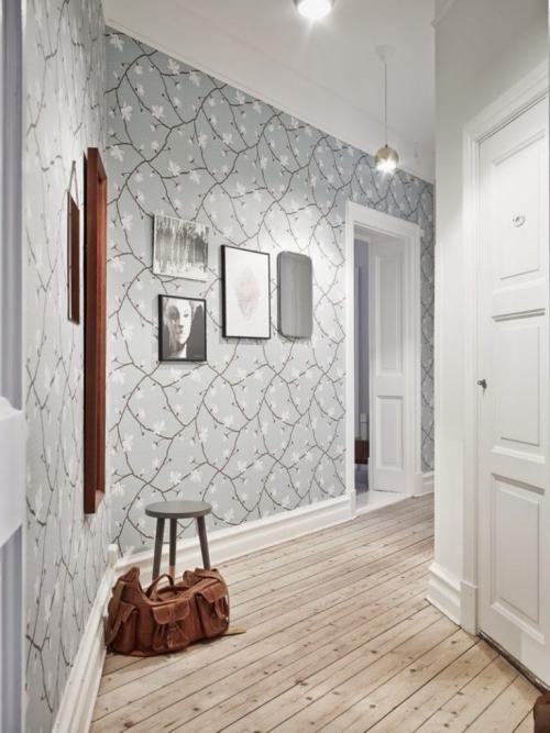 papier peint couloir sol en planches et corridor courbé