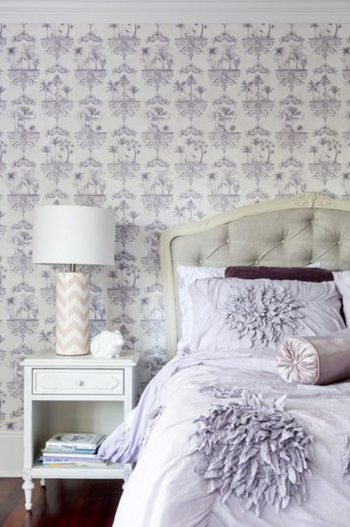 papier peint panoramique gris lilas pastel