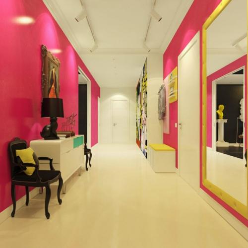 peinture couloir moderne couleurs contrastantes