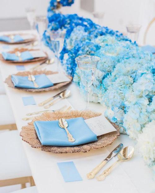 pliage serviette mariage le bleu est privilégié