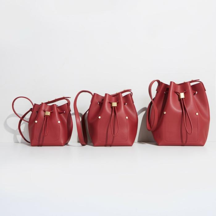 sac seau en cuir rouge diy projet facile