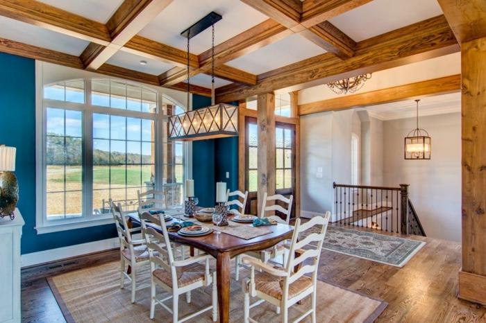 salle à manger chic déco plafond poutre apparente bois massif