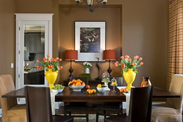 salle à manger contemporaine couleur de peinture tendance 2019 dulux brun miel épicé
