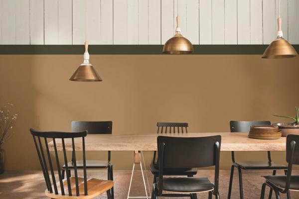 salle à manger industrielle couleur de peinture tendance 2019 dulux brun miel épicé
