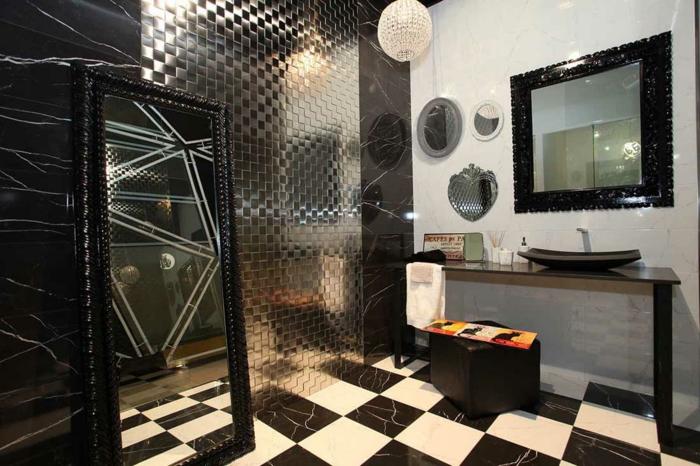 salle de bain blanc et noir sol marbre