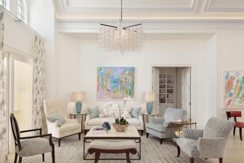 salon couleurs pastel blanc cassé pour les murs