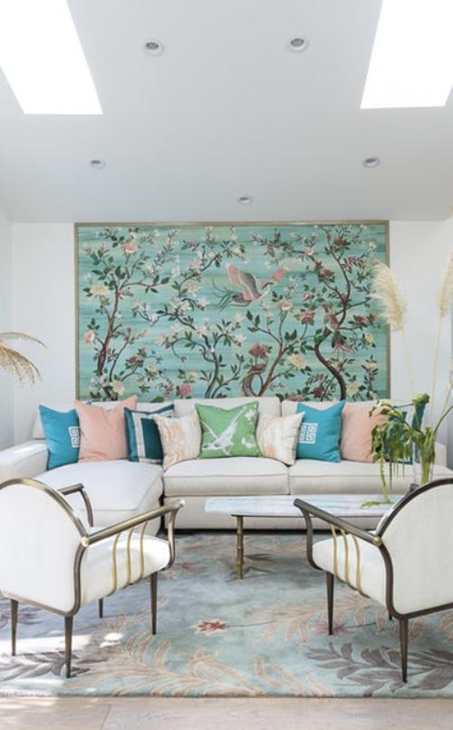 salon couleurs pastel bleu ciel et vert d'eau