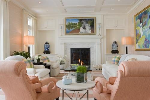 salon couleurs pastel jolis fauteuils en rose