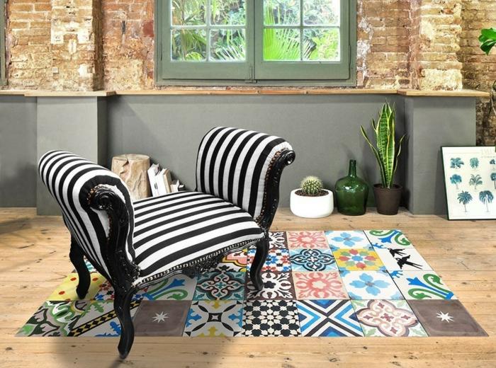salon moderne déco avec tapis vinyle carreaux de ciment