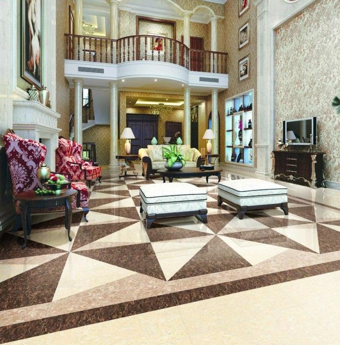 salon vintage sol marbre graphique