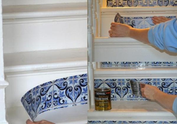 technique habillage contremarches déco montée d'escalier papier peint