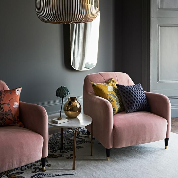 tendance déco automne hiver 2018-2019 fauteuils rose poudre