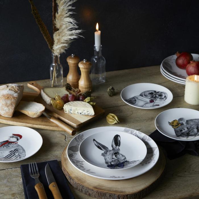 tendance déco automne hiver 2018-2019 vaisselle motifs animaux de forêt