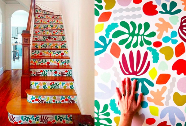 tendance déco montée d'escalier papier peint