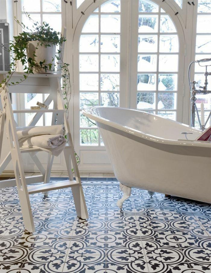vinyle carreaux de ciment salle de bains