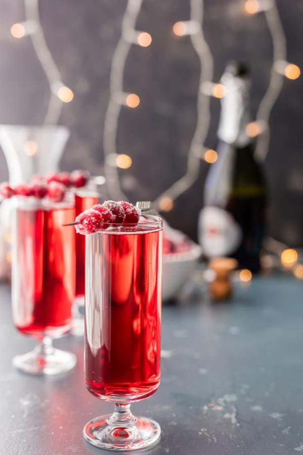 apéro dînatoire fête de Noëlmimosas au sucre de canneberge et au gingembre