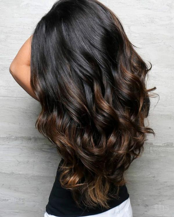 balayage pour brune cheveux brun foncé