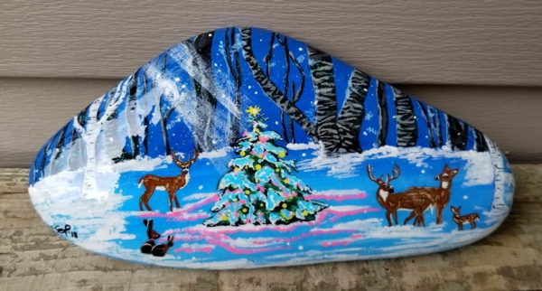 beau paysage hivernal idée diy peinture sur galets noël