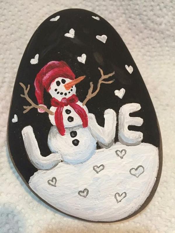 bonhomme de neige diy idée peinture sur galets noël