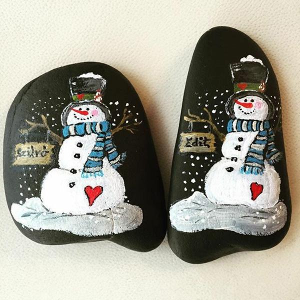 bonhommes de neige idée peinture sur galets noël