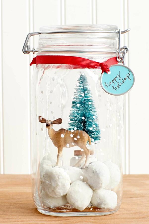 cadeau de noël maman à faire soi-même bocal à biscuits boule à neige