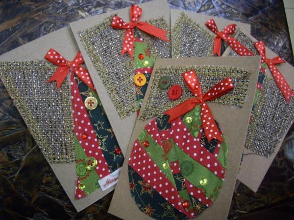 carte de Noël personnalisée tissu sur la carte