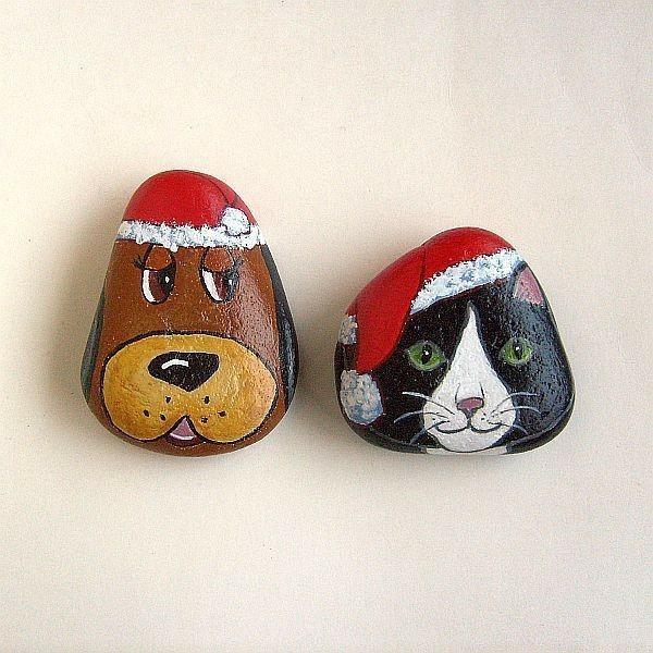 chien et chat idée diy peinture sur galets noël