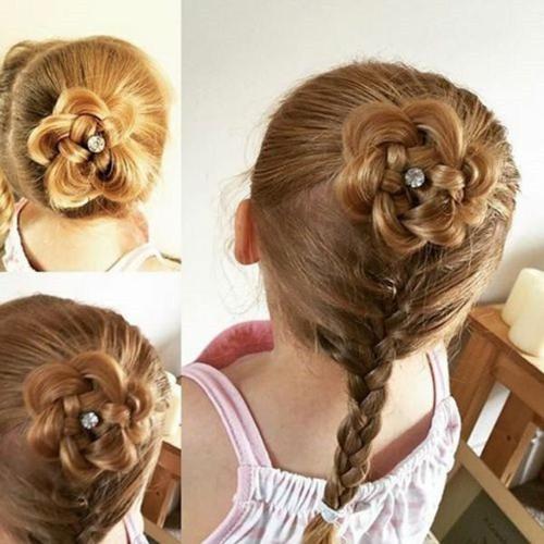 coiffure bébé fille chignon fleur avec tresse
