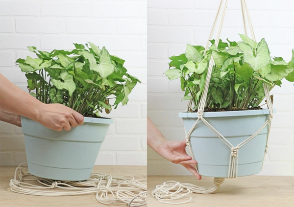 comment faire une suspension macramé installer un pot