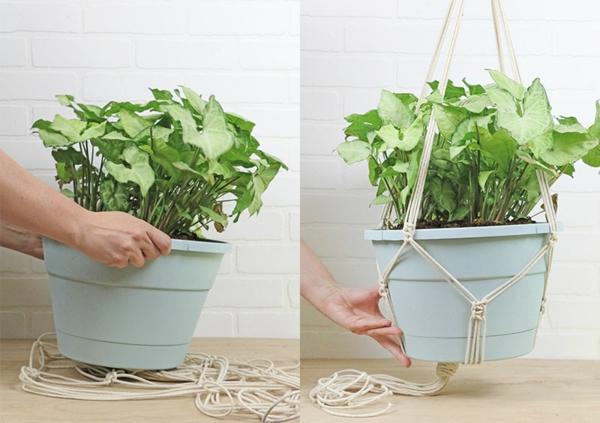 comment faire une suspension macramé installer un pot