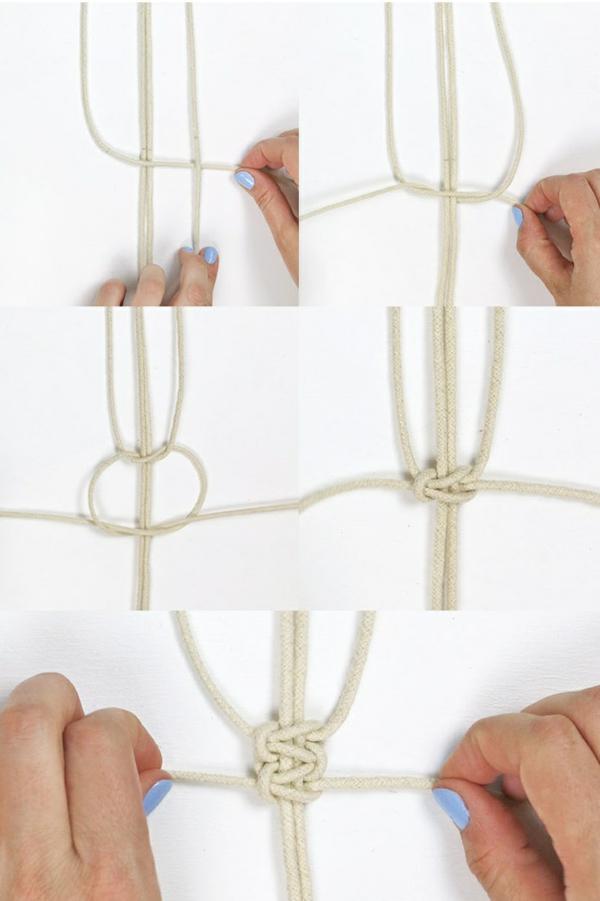 comment faire une suspension macramé noeud carré